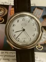 Svájci ritka , Gigantikus Antique Swiss Nilax Unitas Silver 800 Enamel Watch Remontior 17 Rub