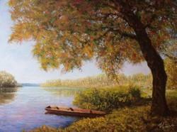 Autumn sauce. Dead Tisza * quality oil painting * hse j. * Noted.