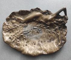 Szecesszió Bronz réz szobor erotikus hölgy,hableàny,nehéz szobor, Asztalközép kínáló névjegytartó