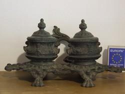 Old antique tin inkwell, calamari, desk accessory