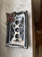 Very nice marked glazed convex floral soap holder