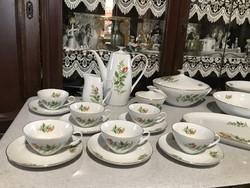 Wonderful bohemia Czechoslovak tableware tea set yellow rose pattern plate set