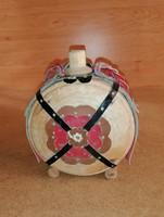 Old ornate wooden bottle 14 cm (n)