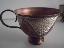 Copper - 6 pieces - engraved - painted - coffee cup - old - flawless