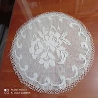 Light beige crochet lace tablecloth, 38.5 cm in diameter