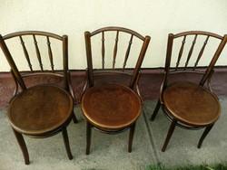 3 db egyforma virágmintás antik Thonet szék maximálisan stabil, felújított állapotban