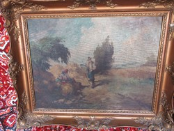 Old oil painting. Resting harvesters, 97x79 signed.