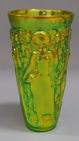 Zsolnay eosin glazed vintage glass, vase designed by János Török