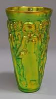 Zsolnay eozin mázas szüretelő pohár, váza Török János tervezte