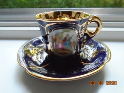 Cobalt opulently gilded genre-looking lobed coffee cup with saucer