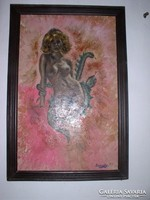 Nude with a snake - oil painting by Joseph Lehoczky, canvas, 92 x 58 cm. In black wooden frame.