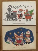 Aranyos Karácsonyi képeslapok - Boór Vera rajz    -    ár / db