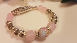 Tibetan silver and glass bracelet 1 cm