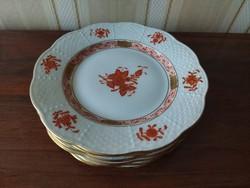 Herend, orange appony pattern cake plate 6 pcs
