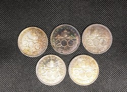 5 Silver 1992 Hungarian 200 ft coins