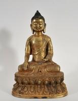 Antik aranyozott, bronz meditáló Buddha figura