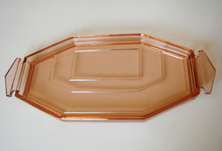 Old art deco glass tray with pink glass serving tray