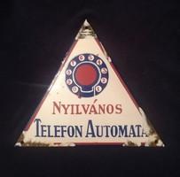 Nyilvános Telefon Automata. Nagyon ritka zománctábla! Cc1950-es évek?!