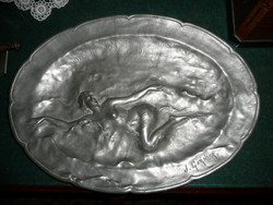 Marked antique, nude figurine Art Nouveau pewter bowl by the famous French sculptor Jean Garnier (1853-1910)