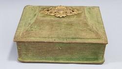 Old, velvet-covered, copper-framed jewelry box