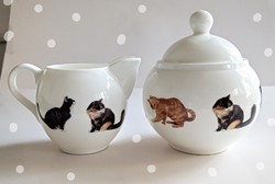 Kitten bone china sugar bowl and spout