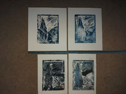 Dr. Csaba Horvát lajos, 4 linocuts, style exercises, indicating size!