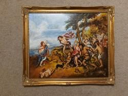 Painting, mythological scene, 50x60 + flawless frame, oil, wood fiber