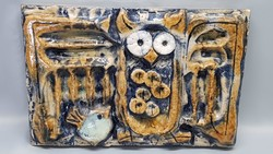 Rare zsolnay pyrogranite owl mural clustered gy. Healthy