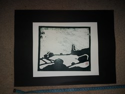 Dr. Csaba Horva's linocut, size indicated!
