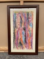 Németh Miklós eredeti absztrakt festmény 67x42 cm