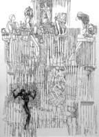 Tusrajz,kerettel: 88 x 68 cm,jelzett, datált
