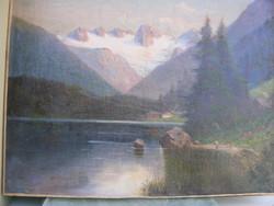 Cca 1880 Romantikua Alpesi Táj tóval olaj-vászon 60X79cm