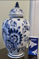 Hand painted delft urn vase