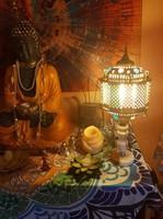 Indiai keleti  márvány-ónix réz gyönyörű asztali lámpa