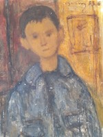 Brown-haired boy with old oil canvas with unknown sign