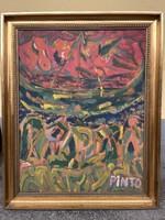 Németh Miklós Pinto Eredeti Tengerparti jelenet 2009 festmény 100x81 cm