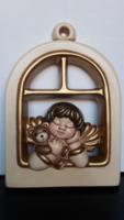 Fairy angelic and teddy bear Christmas mural, thun Italian ceramic, 25 * 18 cm