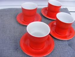 Hollóháza 4 csésze +alj porcelán