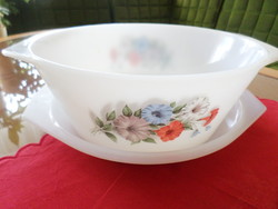 Round, large jena, opal, milk glass bowl / lid with arcopal france