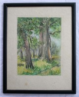 Watercolor depicting a forest detail