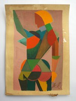 Cubist painting with A.K. monogram, Russian UNOVIS style notes