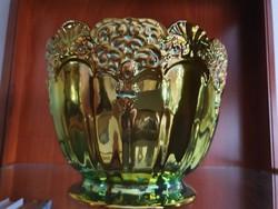 Zsolnay kaspó aranyló eozin mázzal