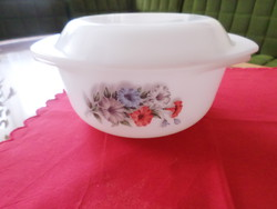 Floral patterned round milk glass with opal and Jena bowl lid. Arcopal france
