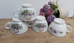 Beautiful Porcelain Twisted Beaded Violet Floral Teacup Cup Collector Beauty Decoration