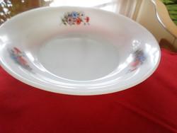 Very nice patterned round jena, opal, milk glass bowl. Indication of arcopal france