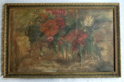 Flower still life - very large - with illegible writing and marking on the back