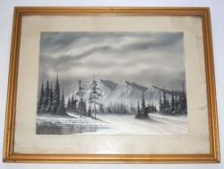 Nagykőhavas 1960 marked painting