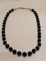 Régi fekete üveg gyöngy nyaklánc