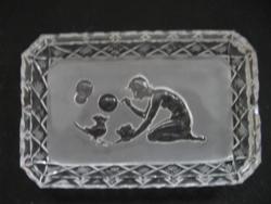 Art deco ashtray bowl Heinrich Hoffmann with bubble blowing nymph bird Bohemia Czech 1930