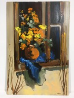 István Károlyi: bouquet of flowers, oil painting